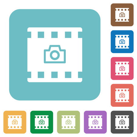 Grab image from movie white flat icons on color rounded square backgrounds
