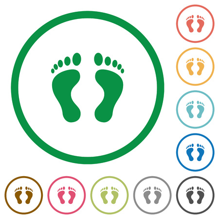 Human Footprints flat color icons in round outlines on white background