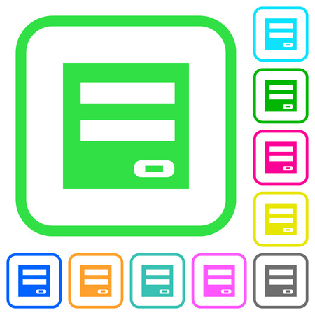 Login panel vivid colored flat icons in curved borders on white background Vecteurs