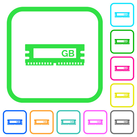 RAM memory module vivid colored flat icons in curved borders on white background