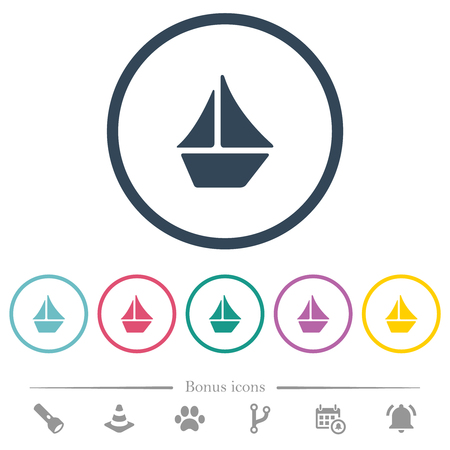 Sailboat flat color icons in round outlines. 6 bonus icons included.