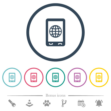 Mobile internet flat color icons in round outlines. 6 bonus icons included.