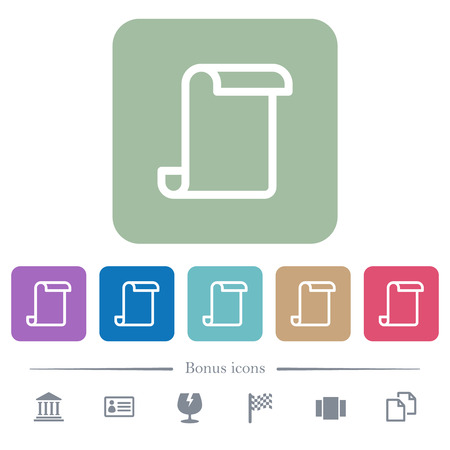 Blank paper scroll white flat icons on color rounded square backgrounds. 6 bonus icons included