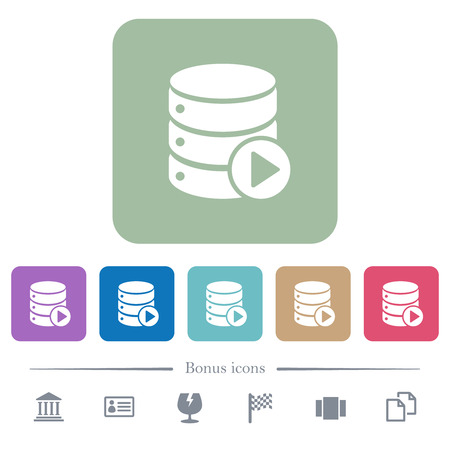 Database macro play white flat icons on color rounded square backgrounds. 6 bonus icons included