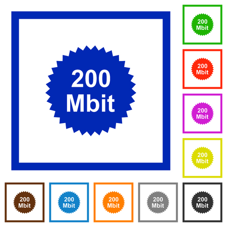 200 mbit guarantee sticker flat color icons in square frames on white background