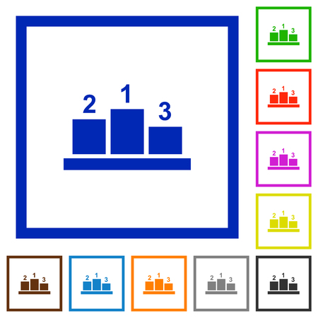 Winners podium with outside numbers flat color icons in square frames on white background