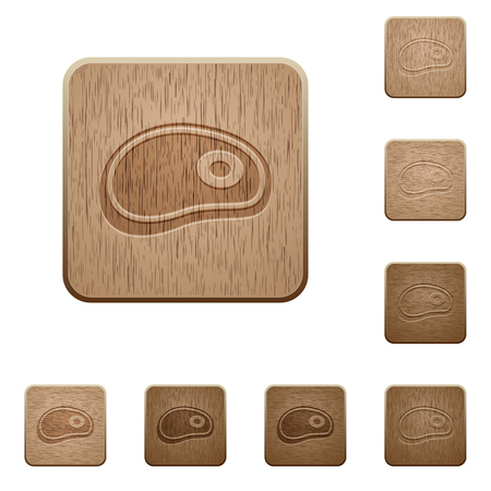 Steak on rounded square carved wooden button styles
