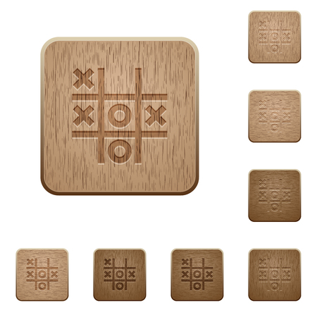 Tic tac toe game on rounded square carved wooden button styles Çizim