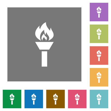 Torch flat icons on simple color square backgrounds