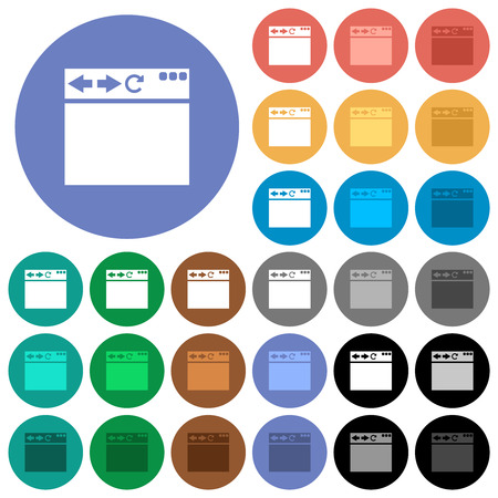 Empty browser window multi colored flat icons on round backgrounds. Included white, light and dark icon variations for hover and active status effects, and bonus shades.