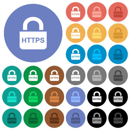 Secure http protocol multi colored flat icons on round backgrounds. Included white, light and dark icon variations for hover and active status effects, and bonus shades. Illustration