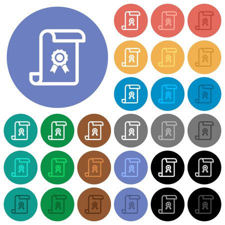 Scroll with certificate multi colored flat icons on round backgrounds. Included white, light and dark icon variations for hover and active status effects, and bonus shades.
