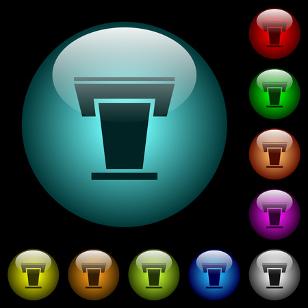 Conference podium icons in color illuminated spherical glass buttons on black background. Can be used to black or dark templates 向量圖像