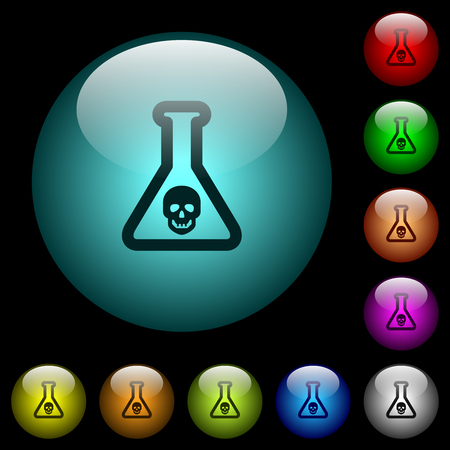 Dangerous chemical experiment icons in color illuminated spherical glass buttons on black background. Can be used to black or dark templates