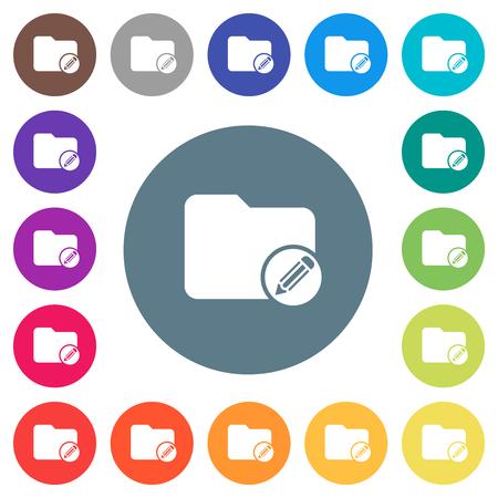Modifiez les icônes blanches plates du répertoire sur des arrière-plans de couleur ronde. 17 variations de couleurs de fond sont incluses.