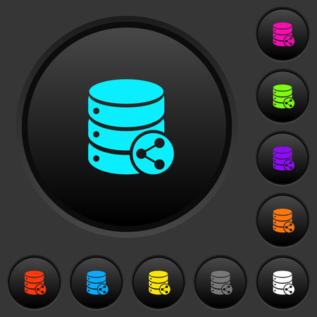 Database table relations dark push buttons with vivid color icons on dark grey background