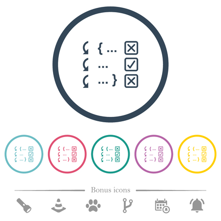 Debugging program flat color icons in round outlines. 6 bonus icons included. Illustration