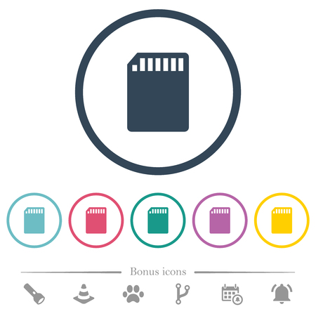 SD memory card flat color icons in round outlines. 6 bonus icons included.