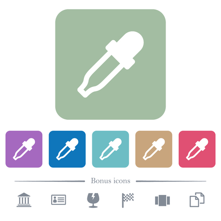 Color picker white flat icons on color rounded square backgrounds. 6 bonus icons included
