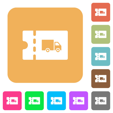 Transport discount coupon flat icons on rounded square vivid color backgrounds.