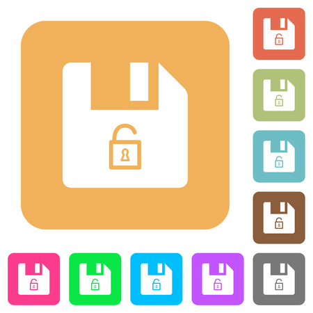 Unlock file flat icons on rounded square vivid color backgrounds.