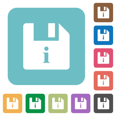File info white flat icons on color rounded square backgrounds
