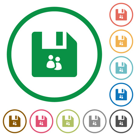 File group flat color icons in round outlines on white background