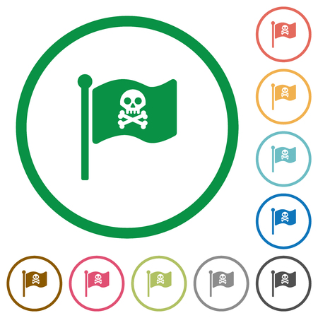 Pirate flag flat color icons in round outlines on white background