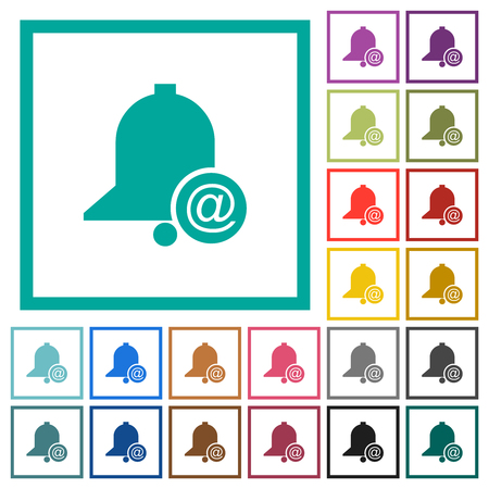 Email reminder flat color icons with quadrant frames on white background