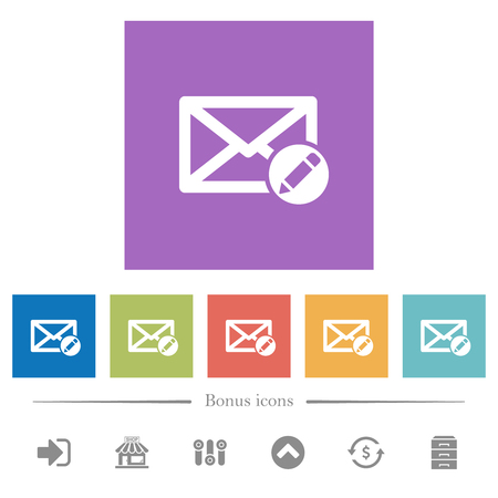 Write mail flat white icons in square backgrounds. 6 bonus icons included.