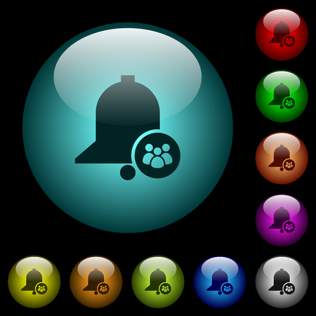 Team reminder icons in color illuminated spherical glass buttons on black background. Can be used to black or dark templates