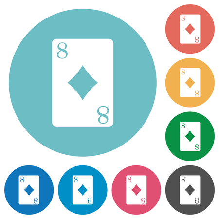Eight of diamonds card flat white icons on round color backgrounds Illustration