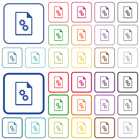 Executable file color flat icons in rounded square frames. Thin and thick versions included.