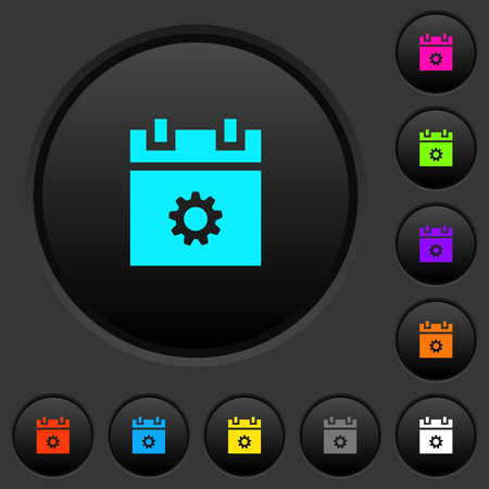 Schedule settings dark push buttons with vivid color icons on dark grey background