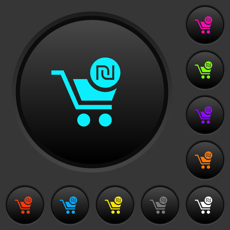 Checkout with new Shekel cart dark push buttons with vivid color icons on dark grey background