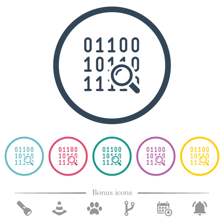 Code analysis flat color icons in round outlines. 6 bonus icons included. Illustration