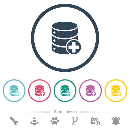 Add to database flat color icons in round outlines. 6 bonus icons included. Illustration