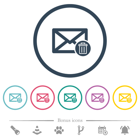 Draft mail flat color icons in round outlines. 6 bonus icons included.