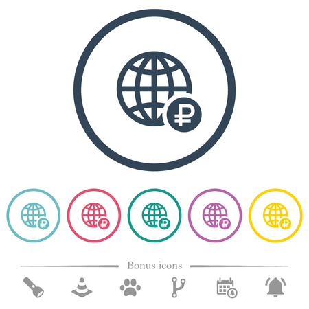 Online Ruble payment flat color icons in round outlines. 6 bonus icons included.