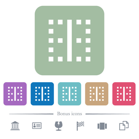 Vertical border white flat icons on color rounded square backgrounds. 6 bonus icons included