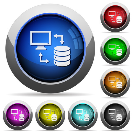Syncronize data with database icons in round glossy buttons with steel frames