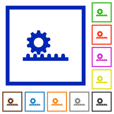 Cogwheel with rack pinion flat color icons in square frames on white background Illustration