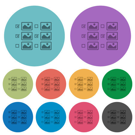 Multiple image selection with checkboxes darker flat icons on color round background Illustration