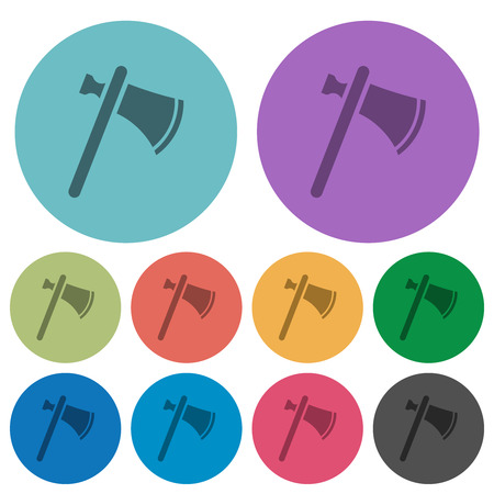 Single tomahawk darker flat icons on color round background