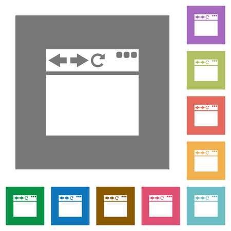 Empty browser window flat icons on simple color square backgrounds