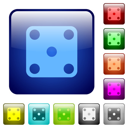 Domino five icons in rounded square color glossy button set Vectores