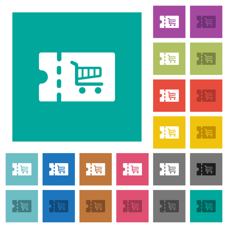 Cart discount coupon multi colored flat icons on plain square backgrounds. Included white and darker icon variations for hover or active effects.