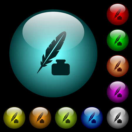 Feather and ink bottle icons in color illuminated spherical glass buttons on black background. Can be used to black or dark templates Illustration