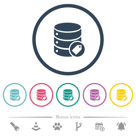 Database tag flat color icons in round outlines. 6 bonus icons included.