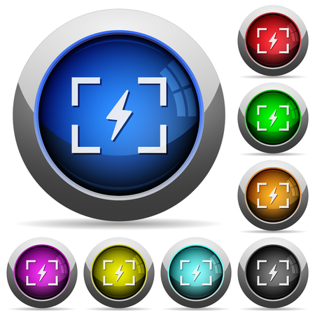 Camera flash mode icons in round glossy buttons with steel frames Vectores
